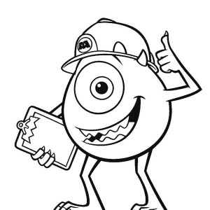 mike and his working helmet in monsters inc coloring page