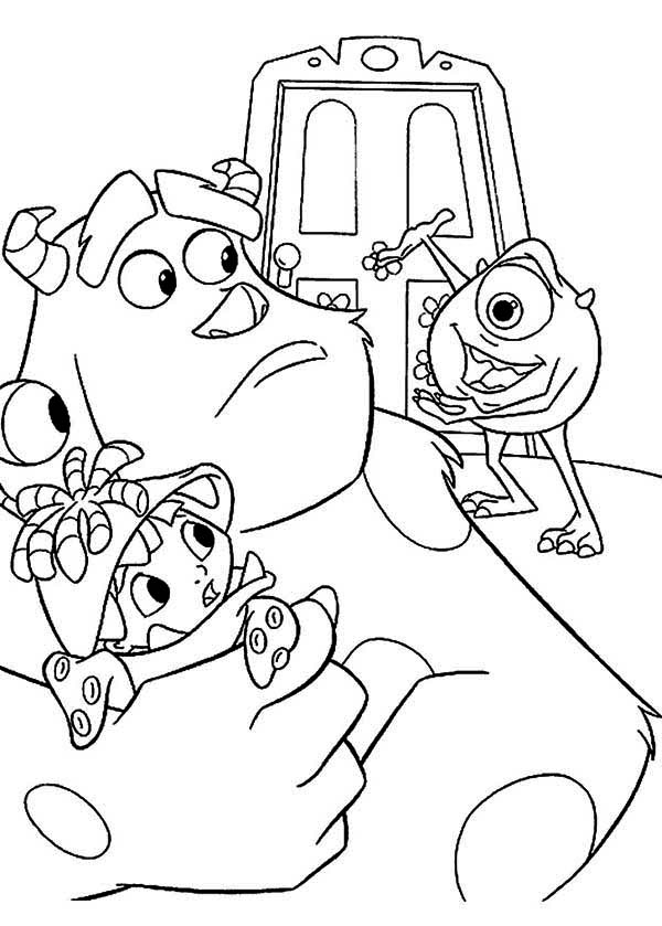 Monsters Inc, : Mike is Showing Sulley the Door into Monsters Inc Coloring Page