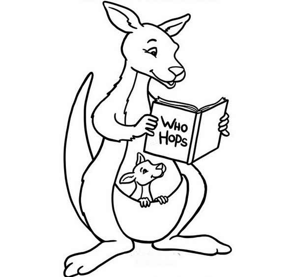 Australia Day, : Mother Kangaroo Reading Her Son a Book on Australia Day Coloring Page