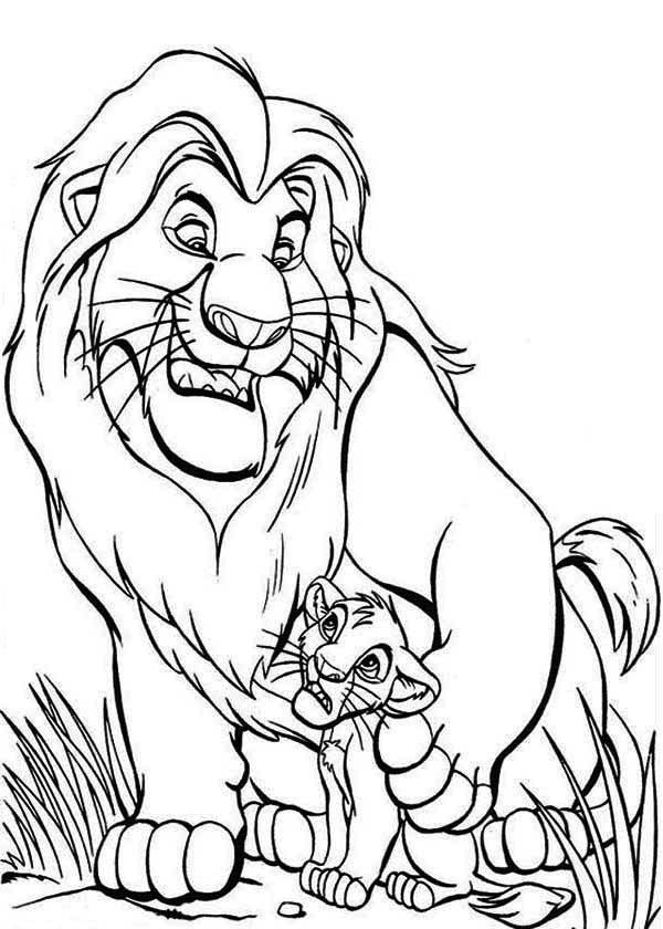 Lion King, : Mufasa Teach Simba The Lion King Coloring Page