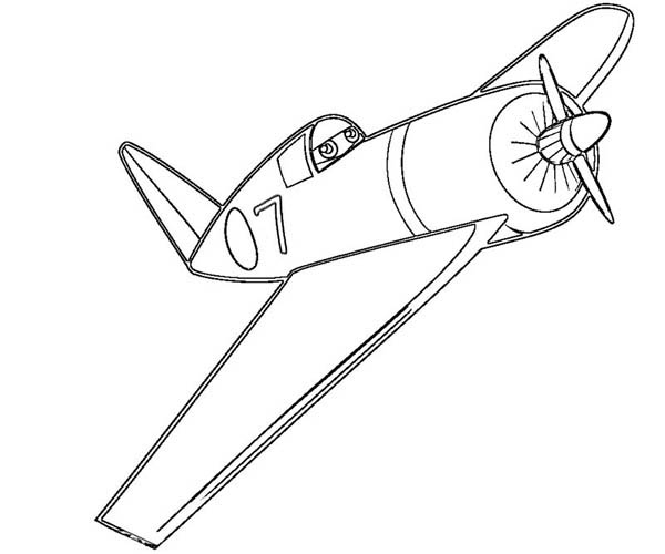 Disney Planes, : One of Dusty Competitor in World Race in Disney Planes Coloring Page
