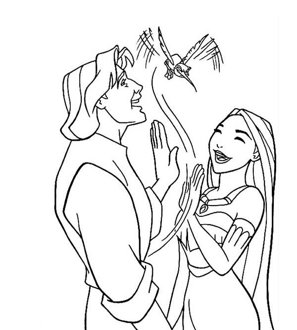 Pocahontas, : Pocahontas and John Smith Play with Flit Coloring Page