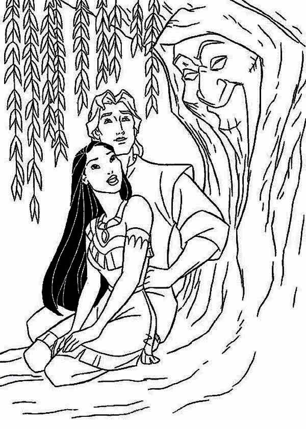 Pocahontas, : Pocahontas and John Smith and Mother Willow Coloring Page