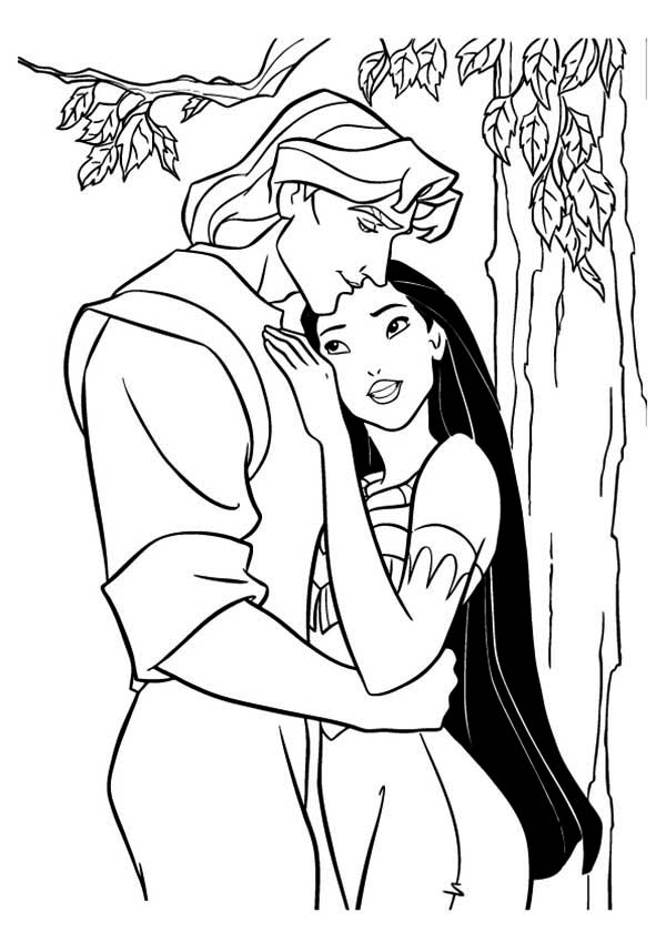 Pocahontas, : Pocahontas and John Smith in Love Coloring Page