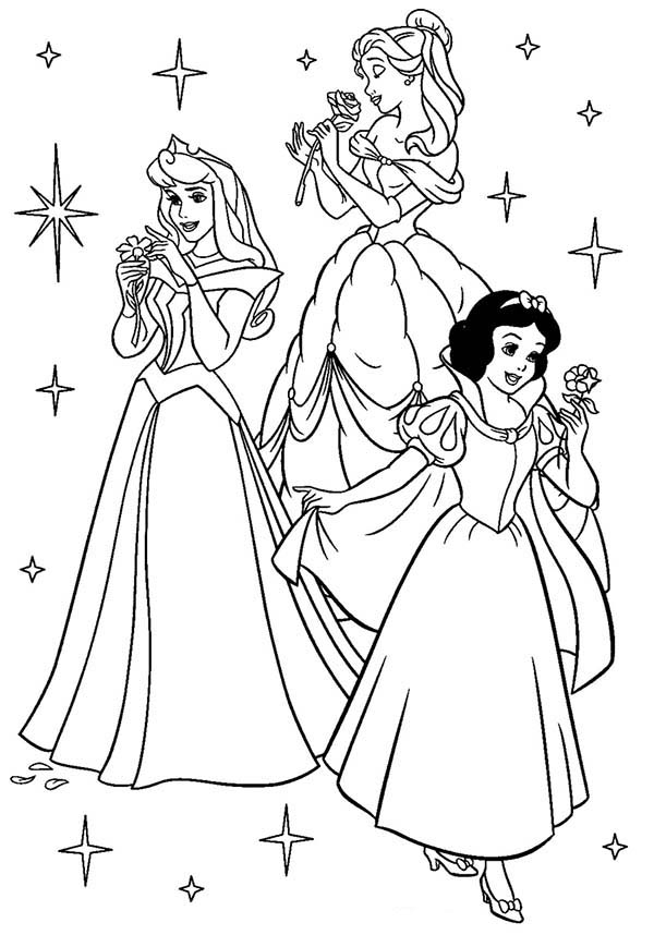 Disney Princesses, : Princess Aurora, Belle and Snow White on Disney Princesses Coloring Page