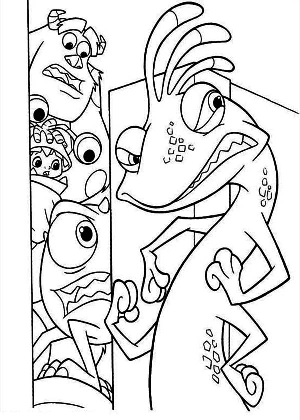 Monsters Inc, : Randal Boggs is Looking for Mike and the Gang Coloring Page