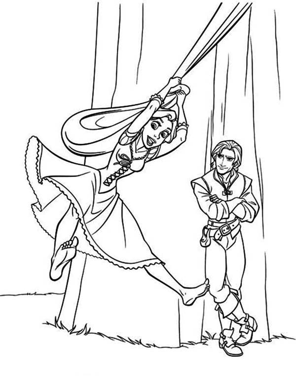Rapunzel, : Rapunzel Flying Over Flynn Coloring Page