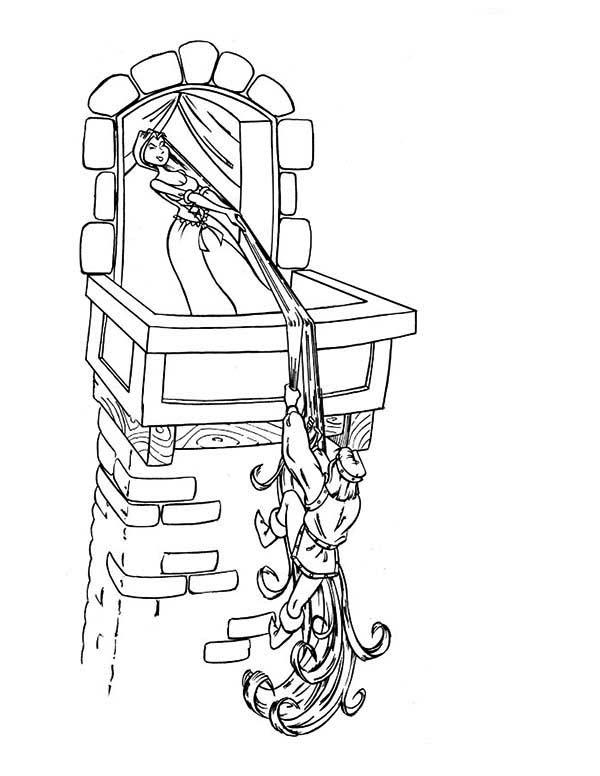 Rapunzel, : Rapunzel Pull Over Flynn Coloring Page