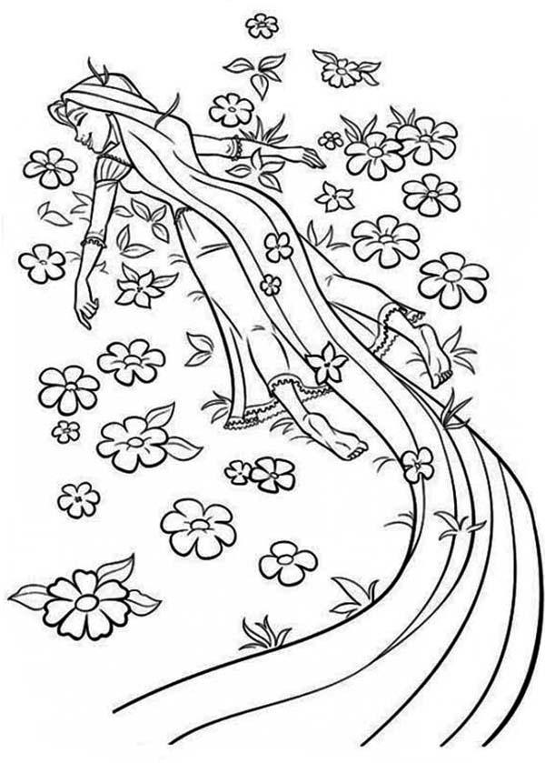 Rapunzel, : Rapunzel Sleep Coloring Page