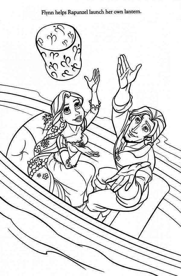 Rapunzel, : Rapunzel and Flynn on Boat Coloring Page