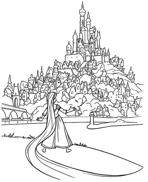 Rapunzel, : Rapunzel and His Father Kingdom Coloring Page