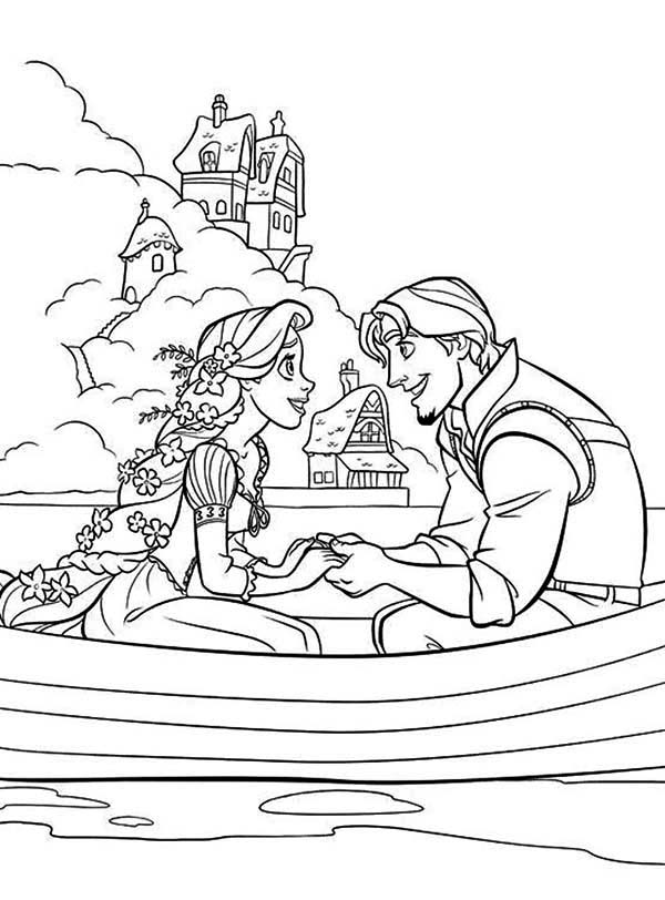 Rapunzel, : Rapunzel on Boat with Flynn Coloring Page