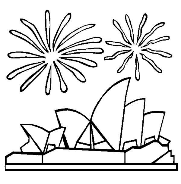 Australia Day, : Sidney Opera House During Australia Day Celebration Coloring Page