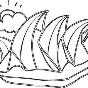 sidney opera house as decoration for australia day coloring page