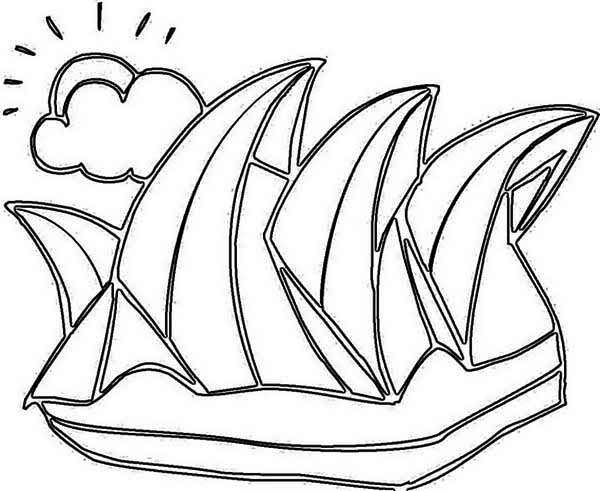 Australia Day, : Sidney Opera House as Decoration for Australia Day Coloring Page