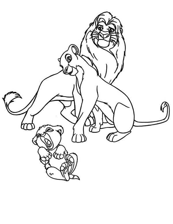 Lion King, : Simba Crying in Front of His Parent The Lion King Coloring Page