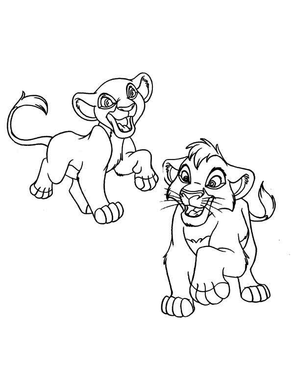 Lion King, : Simba Play with His Girlfriend The Lion King Coloring Page