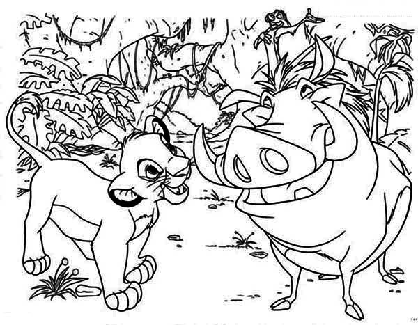 Lion King, : Simba, Pumba and Timon are Best FriendsThe Lion King Coloring Page