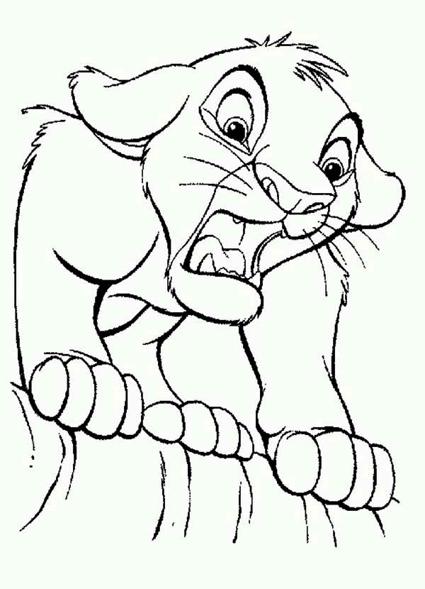 Lion King, : Simba is Shocked The Lion King Coloring Page