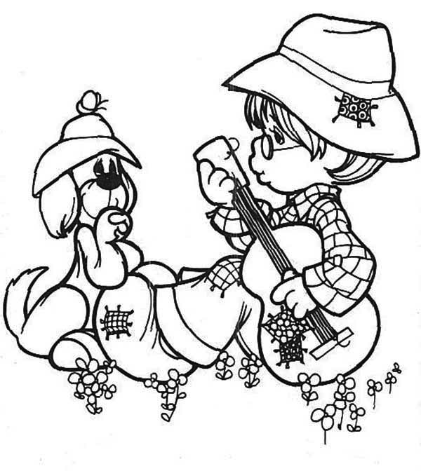 Precious Moments, : Sing Me a Song Precious Moments Coloring Page