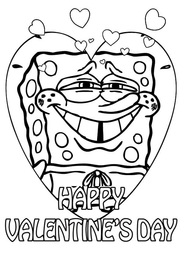 Valentine's Day, : Spongebob Say Happy Valentine's Day Everyone Coloring Page