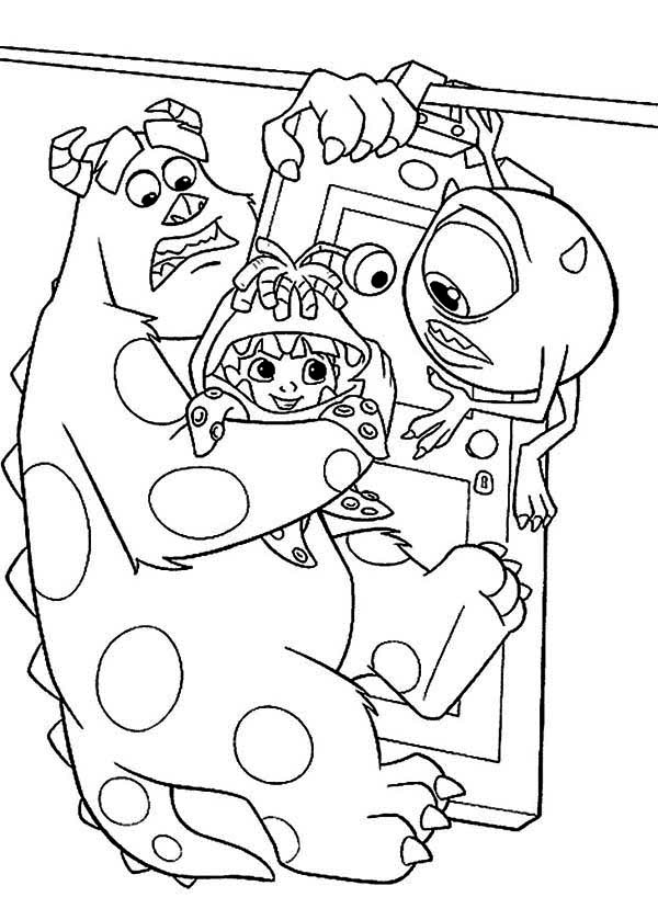 Monsters Inc, : Sulley, Mike and Boo Hanging on the Door in Monsters Inc Coloring Page