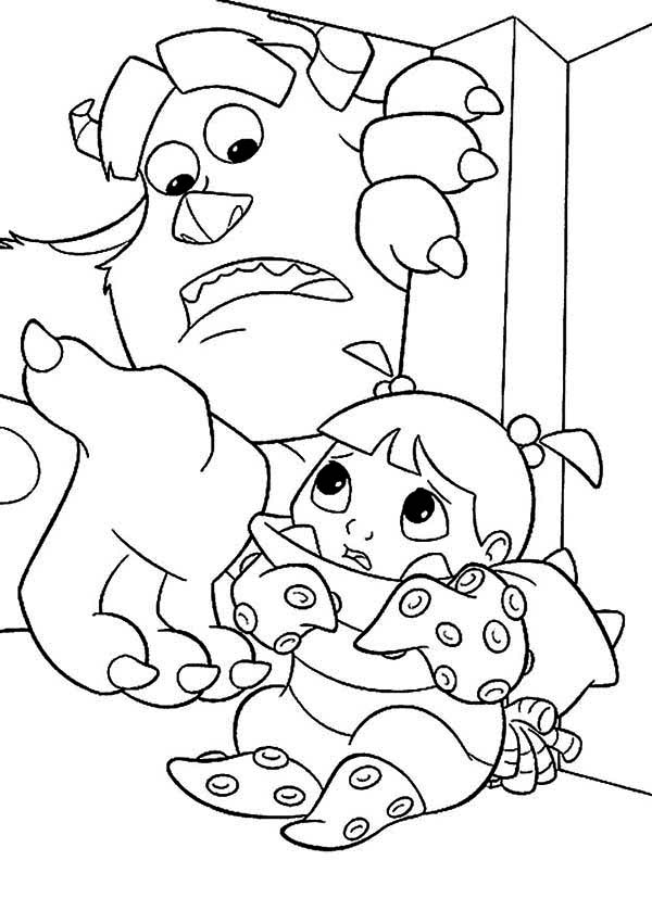 Monsters Inc, : Sulley is Hidding Boo from Randal Boggs in Monsters Inc Coloring Page