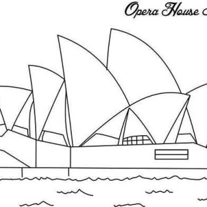 the famous opera house in sidney ready for australia day coloring page