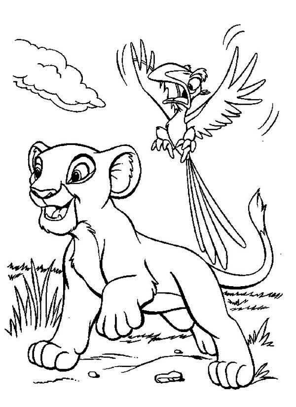 The Lion King Simba and Zazu Coloring Page | Kids Play Color