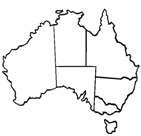 The Map of Australia and Its States for Australia Day Coloring – Map of the States of Australia