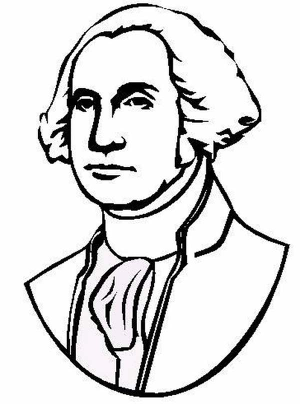 George Washington, : The Portrait of United States 1st President George Washington Coloring Page