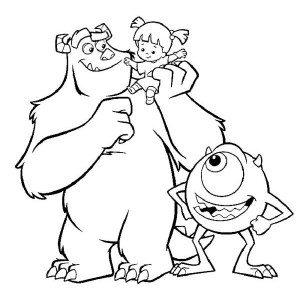 the three companion in monsters inc coloring page