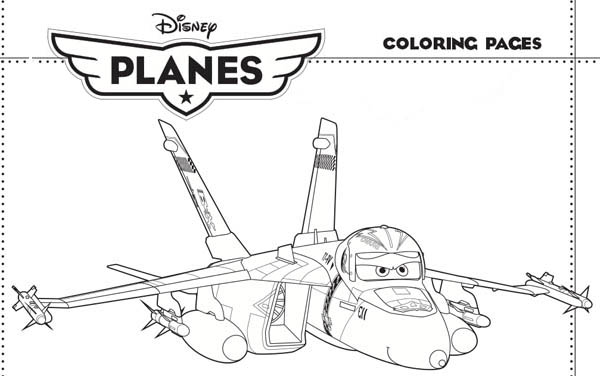 Disney Planes, : The Tough Jet Fighter Bravo in Disney Planes Coloring Page