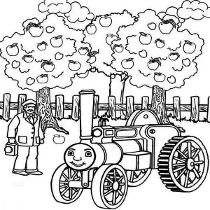 Thomas The Train And Apple Tree Coloring Page With Pages