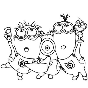 Three Minion Sing and Dance Baby Minion Coloring Pages