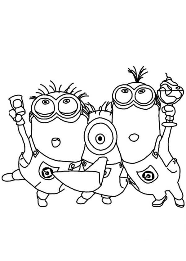 Minion, : Three Minion Sing and Dance Coloring Page