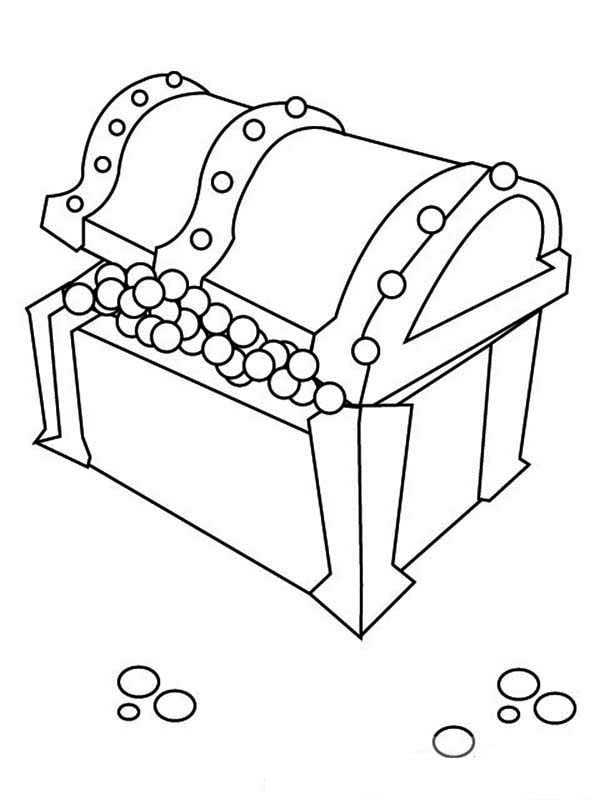 Treasure Chest, : Treasure Chest Full of Pearls Coloring Page