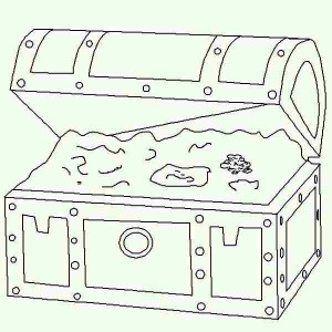 treasure chest in lineart graphic coloring page