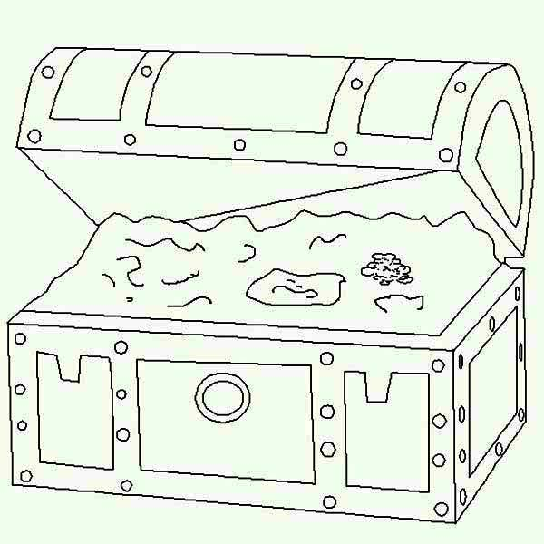 Treasure Chest, : Treasure Chest in Lineart Graphic Coloring Page