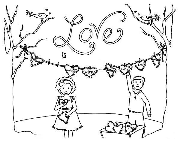Valentine's Day, : Two Childrens Preparing Valentine's Day Party Coloring Page