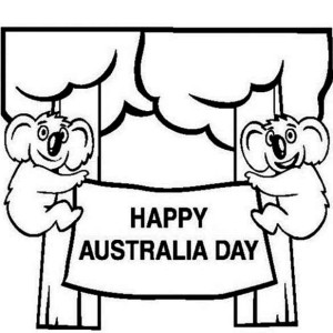 two cute koalas in the tree say happy australia day coloring page