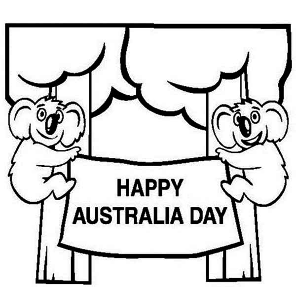 Australia Day, : Two Cute Koala's in the Tree Say Happy Australia Day Coloring Page