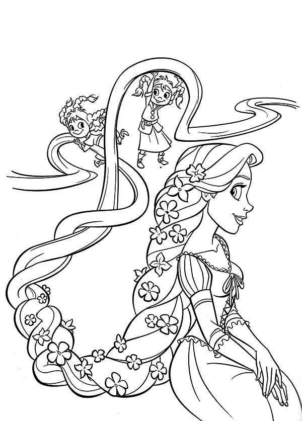 Rapunzel, : Two Kids Playing with Rapunzel Hair Coloring Page