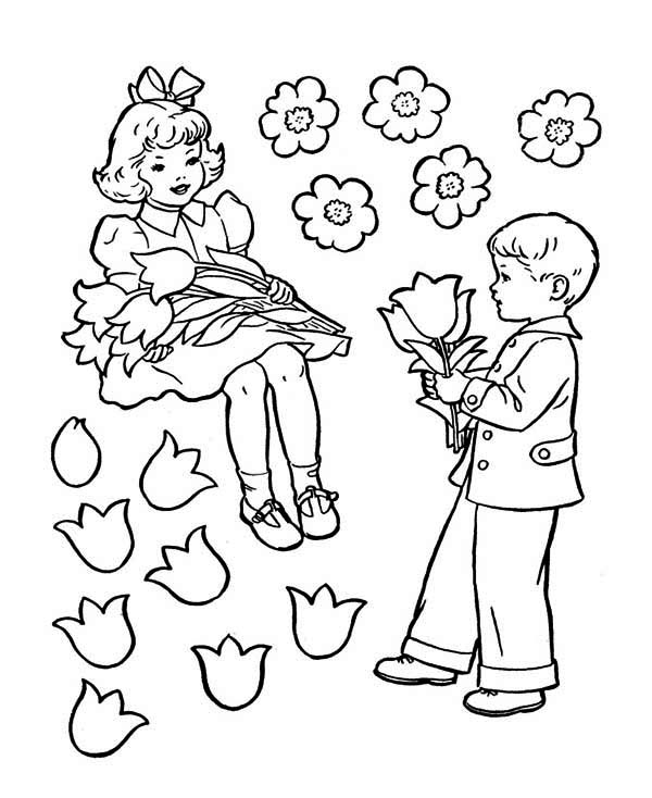 Valentine's Day, : Two Kids Showing Their Love on Valentine's Day Coloring Page