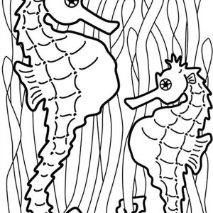 two seahorse hang onto seaweed to catch food coloring page - Realistic Seahorse Coloring Pages