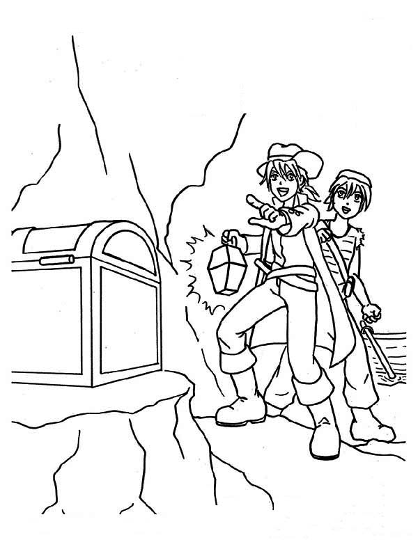 Treasure Chest, : Two Young Pirates Found a Treasure Chest Coloring Page