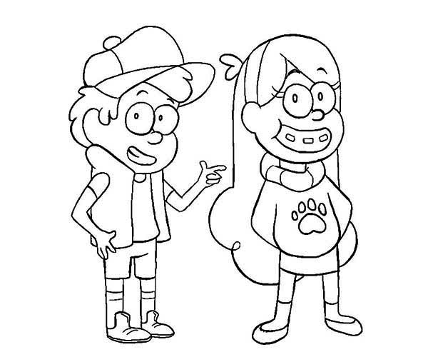 Gravity Falls, : Young Dipper and Mabel Pines Gravity Falls Coloring Page