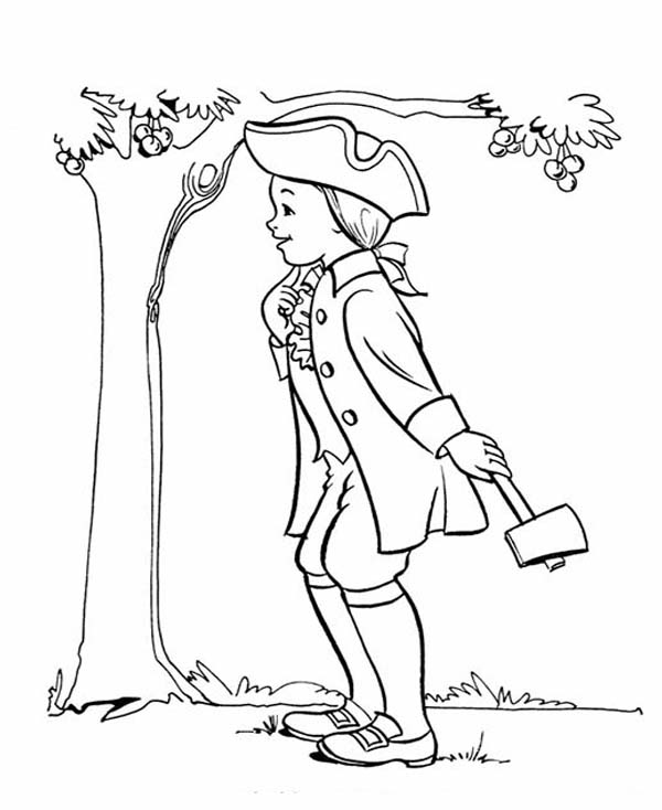 George Washington, : Young George Washington and the Story of Apple Tree Coloring Page
