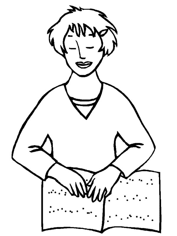 Disability, : A Girl with Disability learn to Read Coloring Page