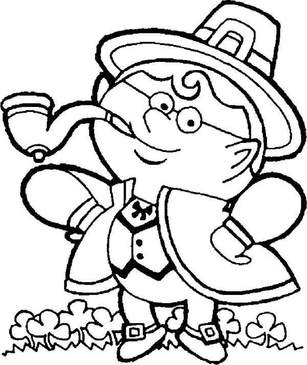 Leprechaun, : A Guy Wearing Leprechaun Costume During St Patricks Day Coloring Page
